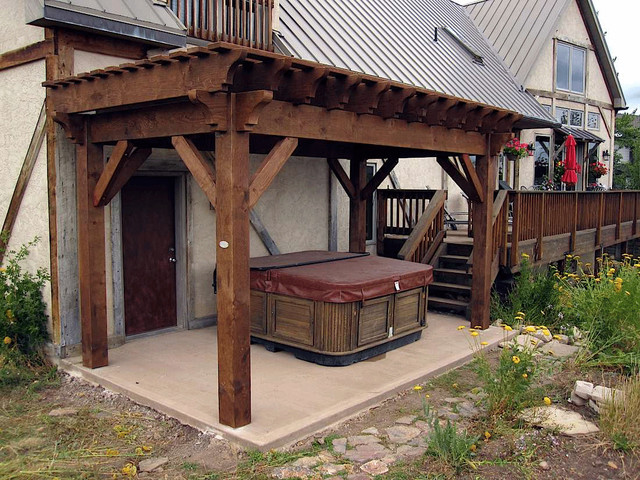 Lee backyard pergola hot tub cover rustic patio salt for Rustic gazebo kits