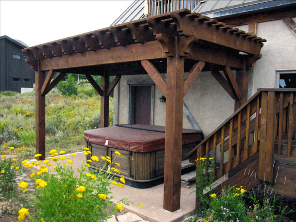 Lee Backyard Pergola Hot Tub Cover - Rustic - Patio - salt lake city - by Western Timber Frame