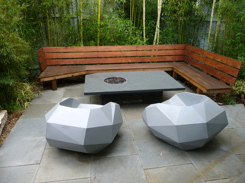 Patio - modern patio idea in San Francisco with a fire pit and no cover