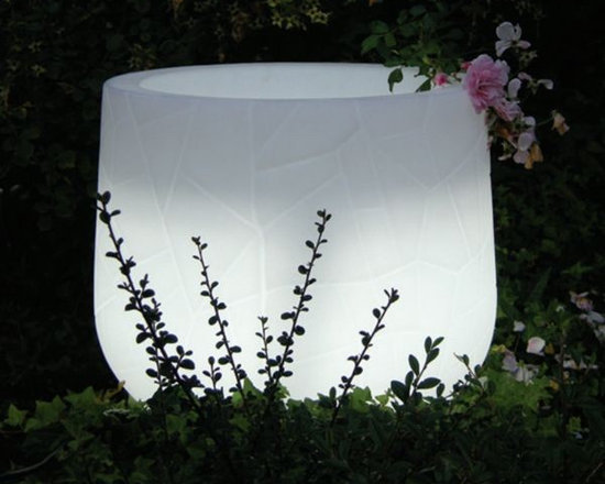 Lighted Indoor-Outdoor Planter - Illuminated indoor-outdoor planter displays white or rotates through several colors.