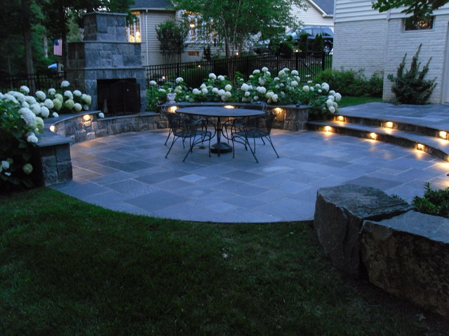 Living room decorating fireplace - Lighted Slate Patio With Fireplace Ashburn Va