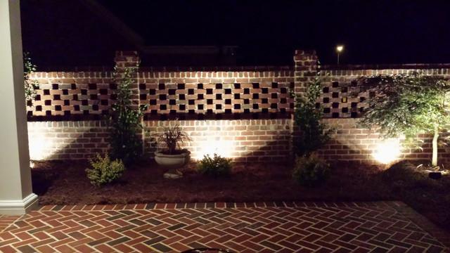 Lighting Of Brick Privacy Wall