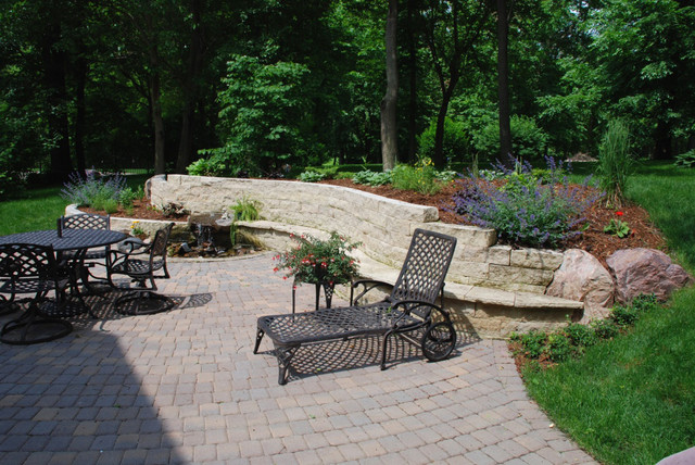 Limestone Bench traditional-patio