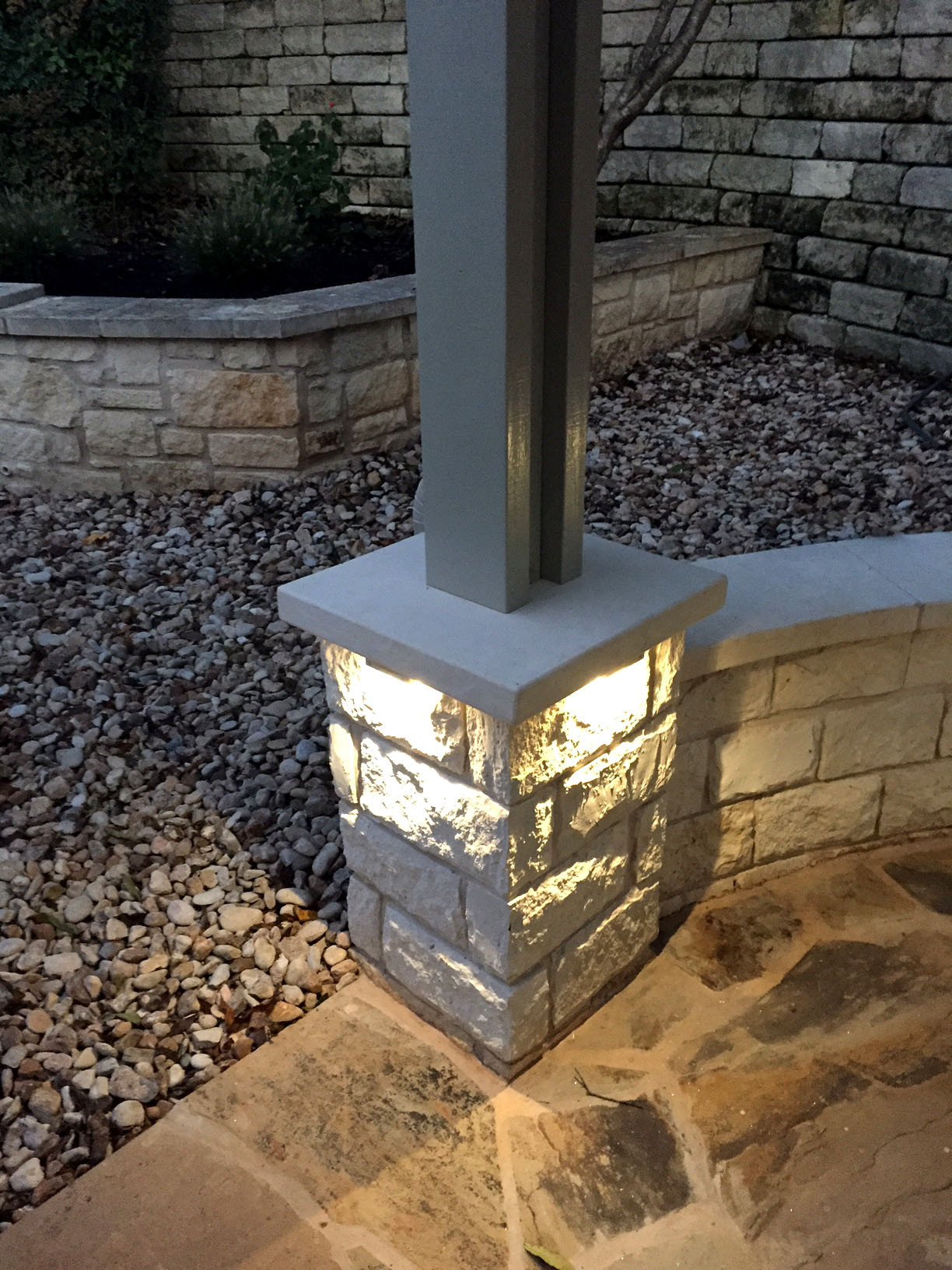 Limestone column w/ lighting