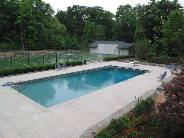 Limestone Swimming Pool Patio Nj Traditional New