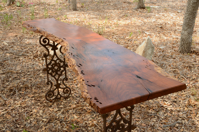 Live Edge Mesquite Entry Table With Wrought Iron Legs From Egypt  Industrial Patio