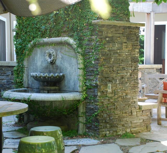 Los Altos Outdoor Fireplace And Fountain Traditional