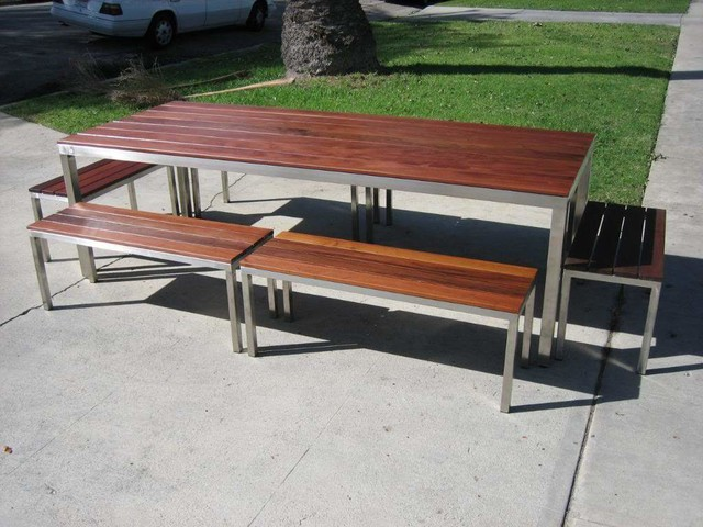 Elegant Los Angeles Custom Made Modern Steel And Wood Outdoor Table And Benches.  Ipe Woo Modern