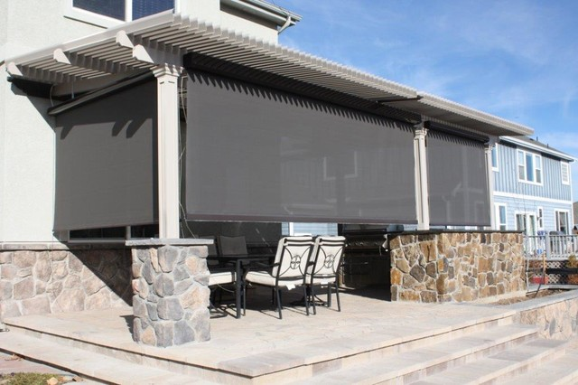 Louvered Roof Patio Cover With Sun Screen Craftsman