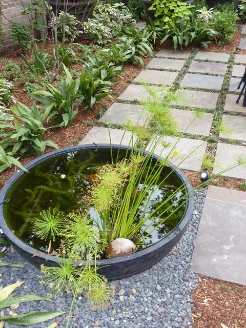 Lush backyard in Tanglewood contemporary-patio