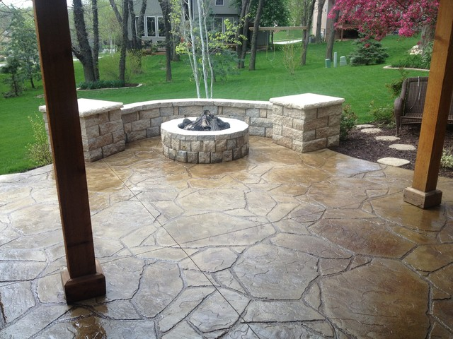 Stamped Concrete Design Ideas example of a classic patio design in cleveland Traditional Patio Idea In Kansas City