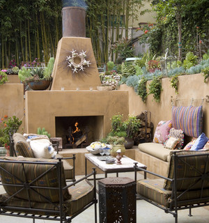 outdoor fireplace with furniture