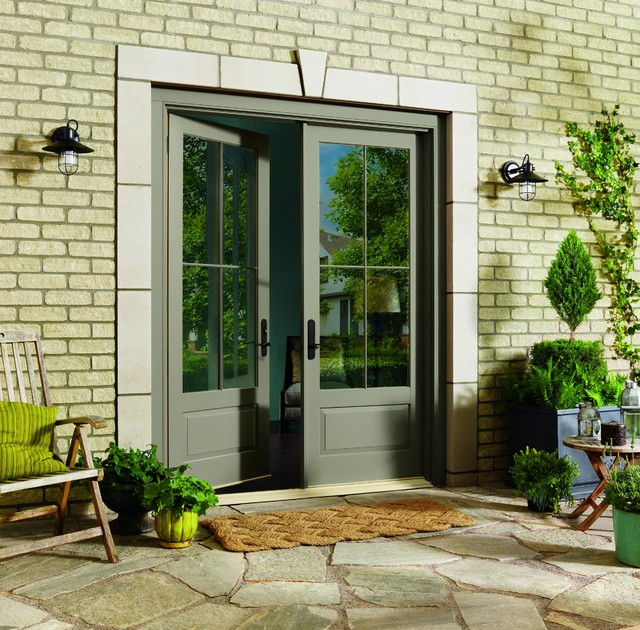Inswing french doors by marvin traditional patio for Marvin ultimate swinging screen door