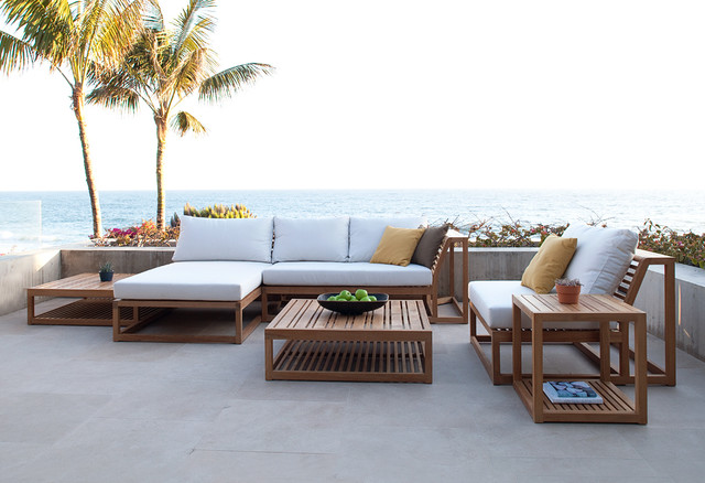 Maya 6pc teak lounge set modern patio orange county for Patio lounge sets