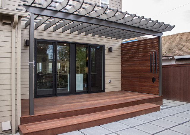 Inspiration For A Mid Sized Contemporary Backyard Concrete Paver Patio  Remodel In Portland With A