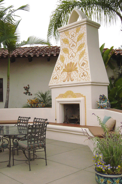Mexican Folk Patterns Mural Mediterranean Patio San