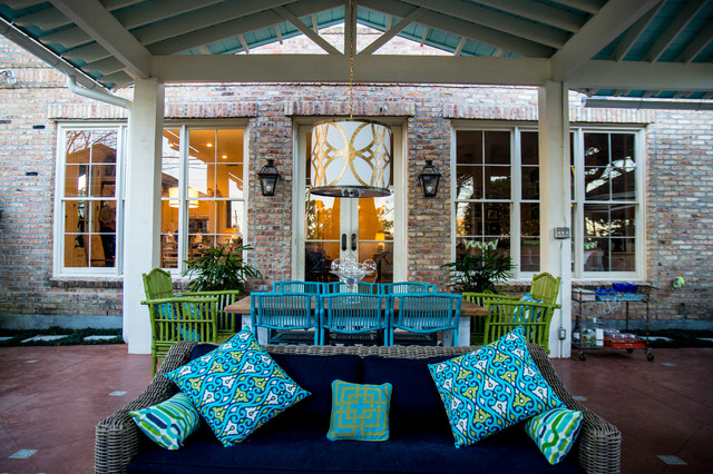 Example Of A Coastal Patio Kitchen Design In New Orleans With Gazebo