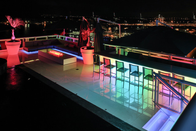 Superior Miami Penthouse Mancave Rooftop Pool LED Lighting Contemporary Patio