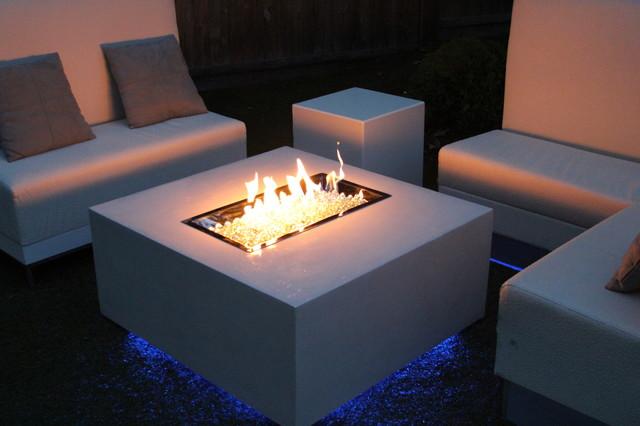 Miami White Concrete Fire Table Contemporary Patio