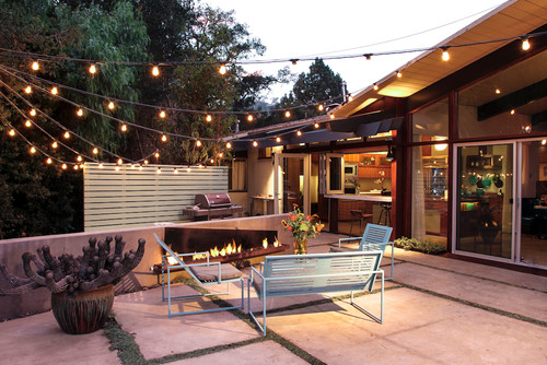 patio with hanging lights