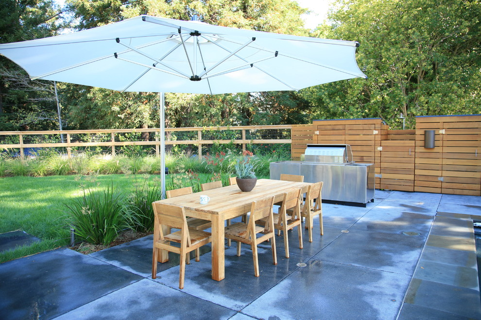 Example of a large trendy backyard concrete paver patio design in San Francisco