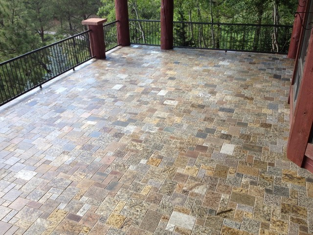 Mini French Pattern Pavers Traditional Patio Detroit By - Granite patio pavers