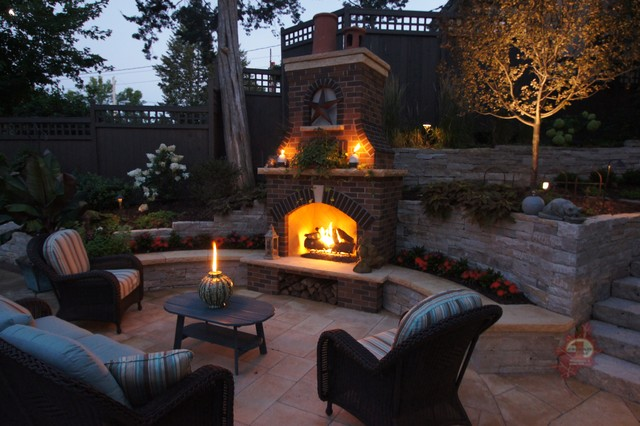 Minneapolis outdoor fireplace pool traditional patio for Pool with fireplace