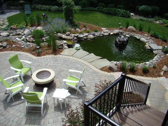 Water And Fire Features For Backyards : Minnesot backyard, perennials, water feature, fire pit  Traditional