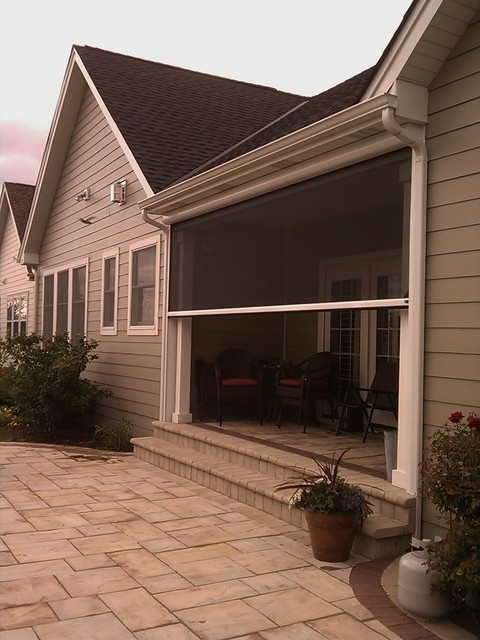 Mirage motorized screen on outdoor patio patio chicago Motorized porch screens