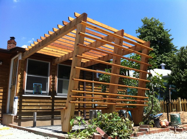 Modern Cedar Pergola Contemporary Patio Other Metro