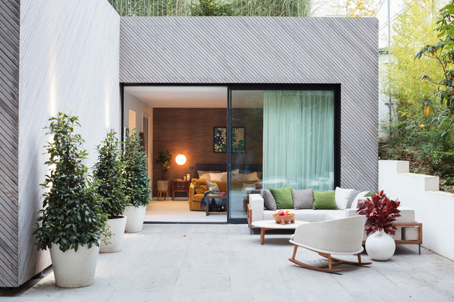 Black and milk interior design london · interior designers modern new home in hampstead patio contemporary patio
