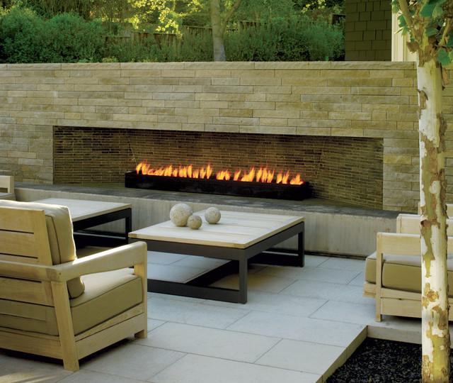 Modern Outdoor Fireplace Contemporary