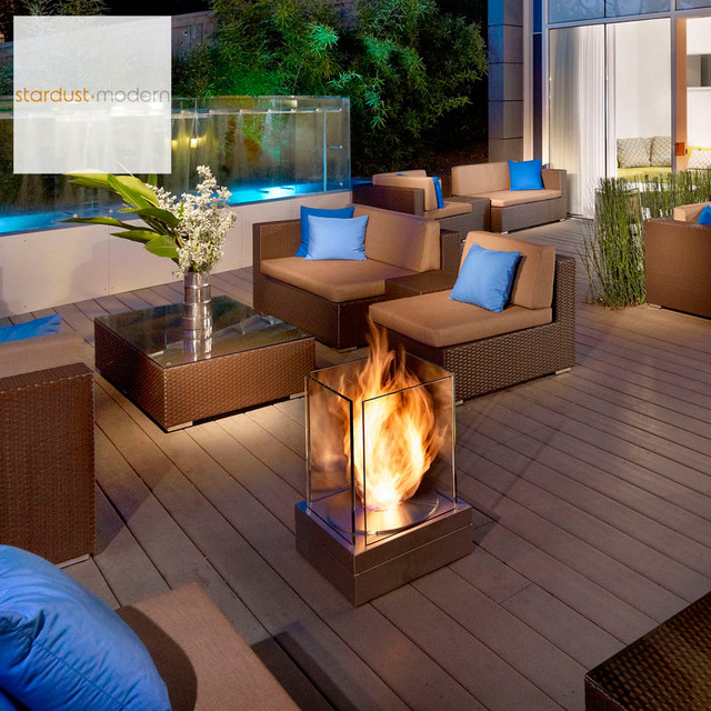 Modern Outdoor Landscape U0026 Patio Design With EcoSmart Mini T Outdoor  Fireplace Contemporary Patio