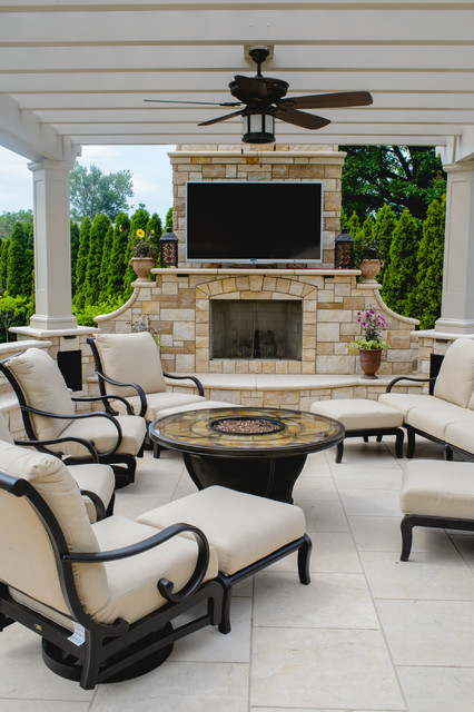 Inspiration For A Mediterranean Patio Remodel In New York With Pergola And Fireplace