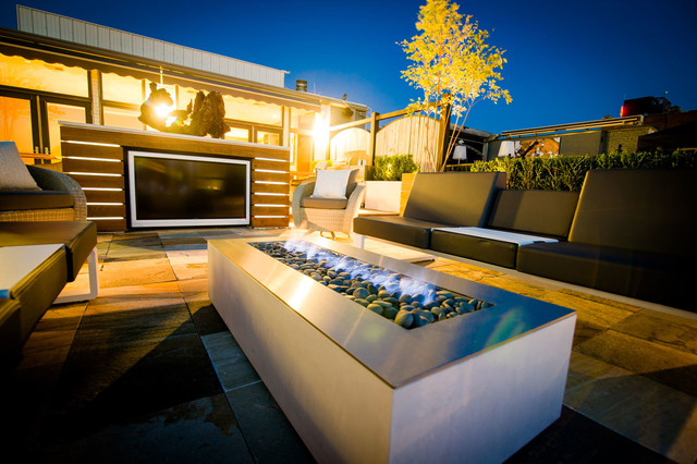 Modern Patio Design with Rectangular Outdoor Fireplace ... on Rectangular Patio Design id=92047
