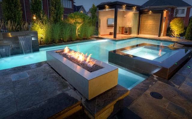 Modern Patio Design with Rectangular Outdoor Fireplace ... on Modern Backyard Fireplace id=31135