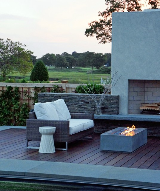 Modern Patio Design With Rectangular Outdoor Fireplace From