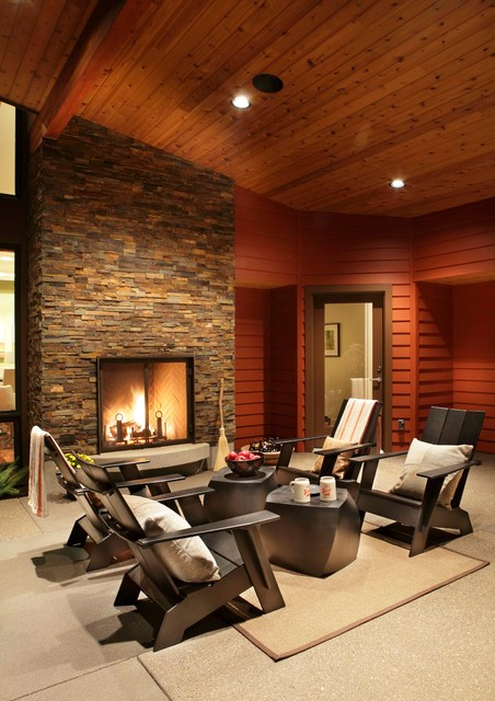 Modern Portland New Construction Covered Patio Fireplace