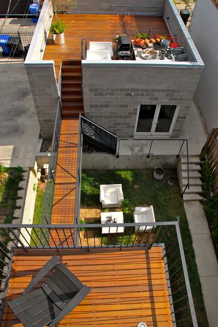Modern Rooftop Terrace Garden Footbridge Door 13