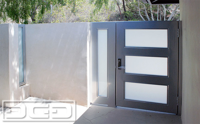 exterior lighting ideas for garage - Modern Steel & Glass Entry Gates With White Laminate Glass