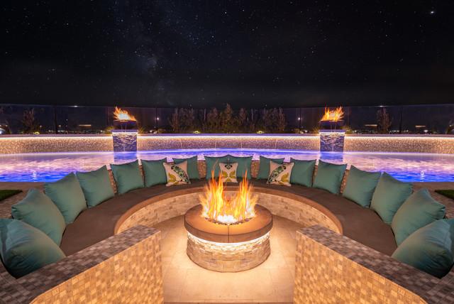 Modern Swimming Pool Spa Sunken Firepit Outdoor Shower