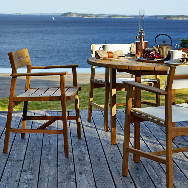 modern teak dining table and chairs modern patio seattle by