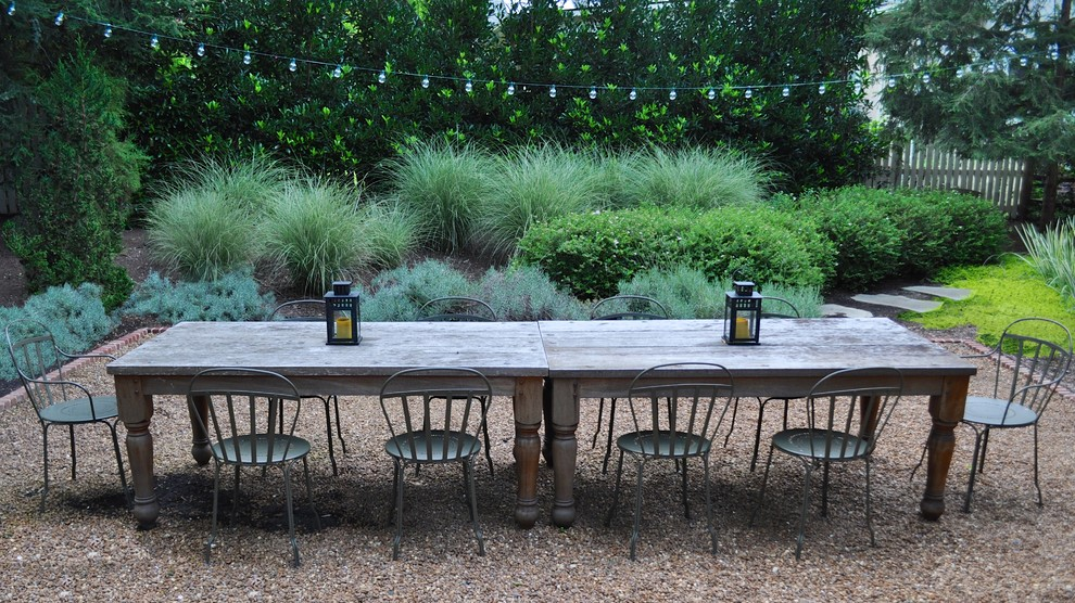 Mountain style gravel patio photo in Charlotte