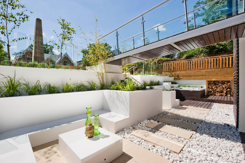 Minimalist backyard patio photo in London with decking