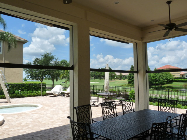 Great Motorized Retractable Screens Traditional Patio