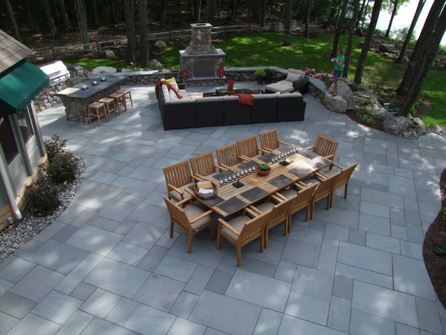 Moultonborough Outdoor Kitchen & Fireplace Project traditional-patio