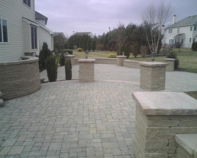 Multi Layer Patio W Stone Pillars