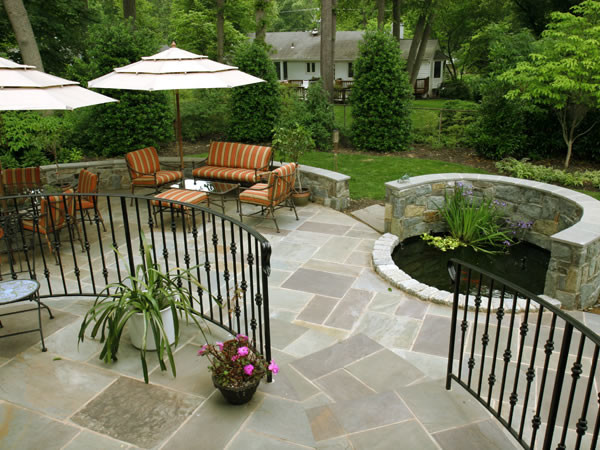 Multi-Level Backyard Designs : MultiLevel Flagstone Patio with Fieldstone Retaining Walls and Water