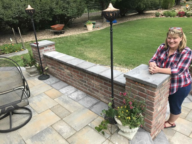 Multi Level Paver Patio With Firepit, Patio Brick Wall Ideas