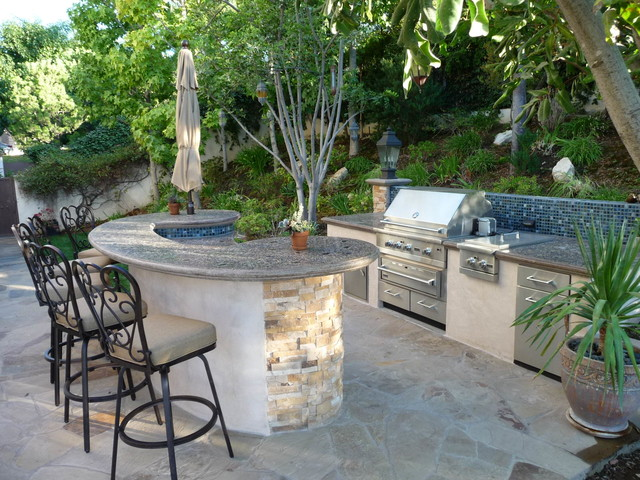 Tiered Backyard With Pool : MultiTiered Stone and Tile Backyard Retreat  Mediterranean  Patio